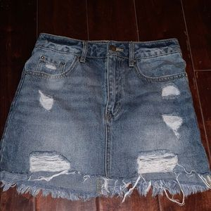 Denim Skirt Distressed
